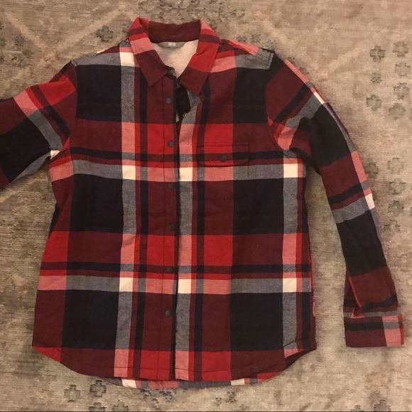 48ec37ddca0e Uniqlo red navy Sherpa lined buffalo check jacket.  M 5b635e7efb38033aacaa2882